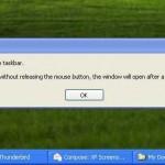 Windows XP Taskbar Drop Rejection
